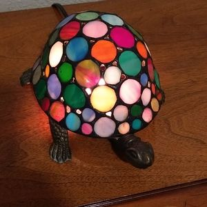 Stained glass and brass turtle